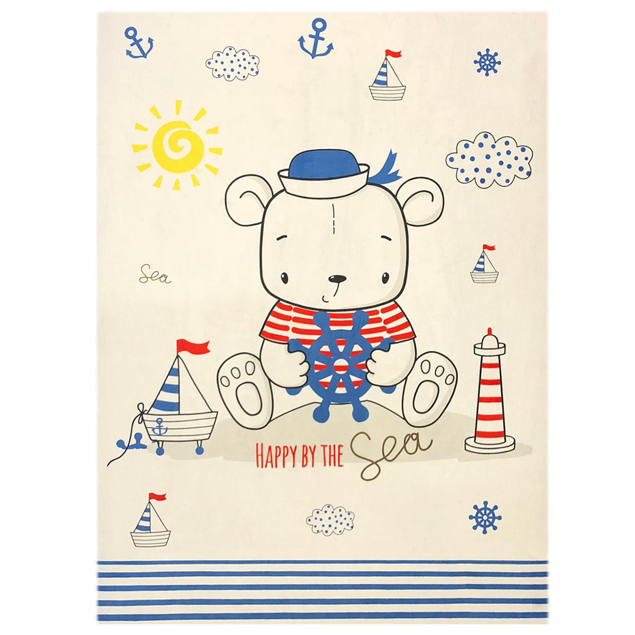 فرش ماشینی دکوفان کد J08 طرح کودک مدل خرس ملوان
