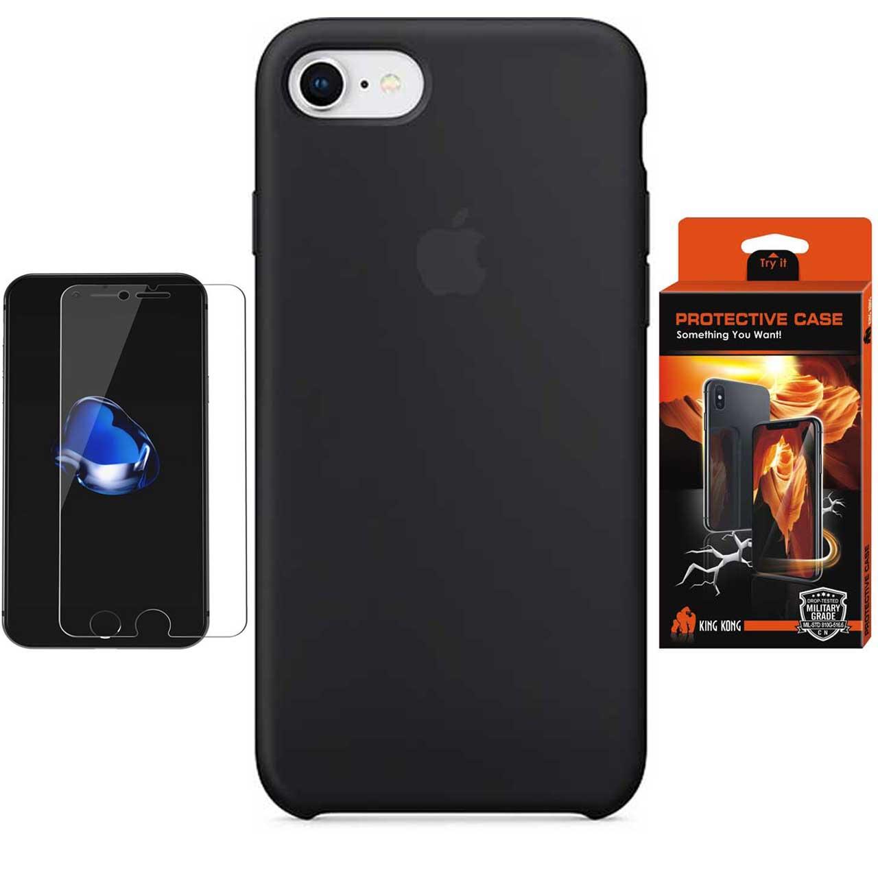کاور سیلیکونی پروتکتیو کیس مدل Hyper Protector مناسب برای گوشی موبایل اپل iPhone 8 به همراه محافظ صفحه نمایش
