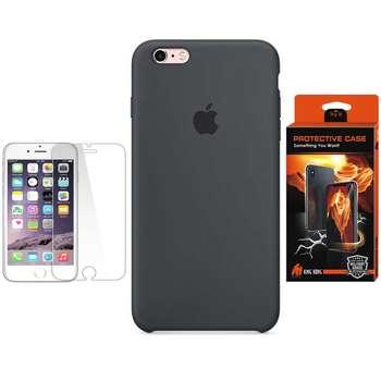 کاور سیلیکونی پروتکتیو کیس پروتکتیو کیس مدل Hyper Protector مناسب برای گوشی موبایل اپل iPhone 6/6S به همراه محافظ صفحه نمایش