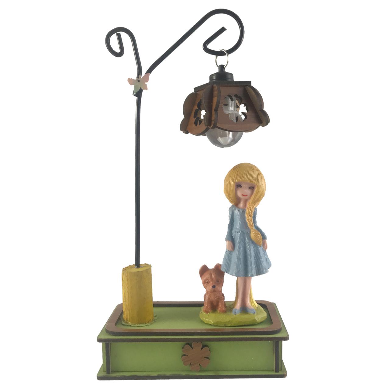 چراغ رومیزی مدل دختر و سگ کد 100