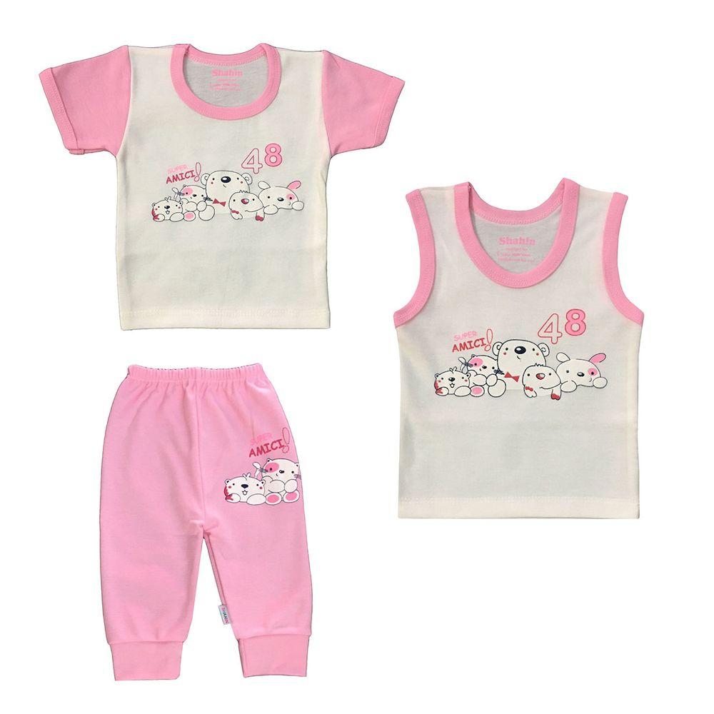 ست 3 تکه لباس نوزادی دخترانه شاهین طرح امیکی کد M