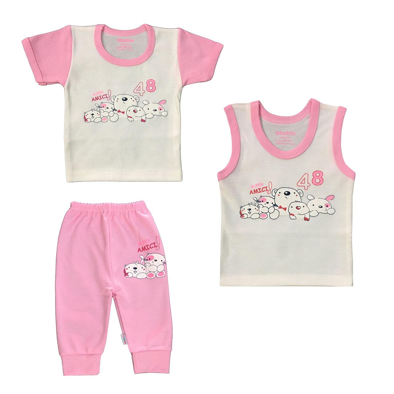 ست 3 تکه لباس نوزادی دخترانه شاهین طرح امیکی کد M -  - 2