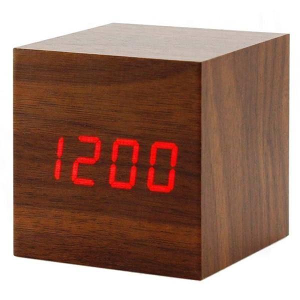 ساعت رومیزی دیجیتال مدل وودن کلاک مکعبی |
