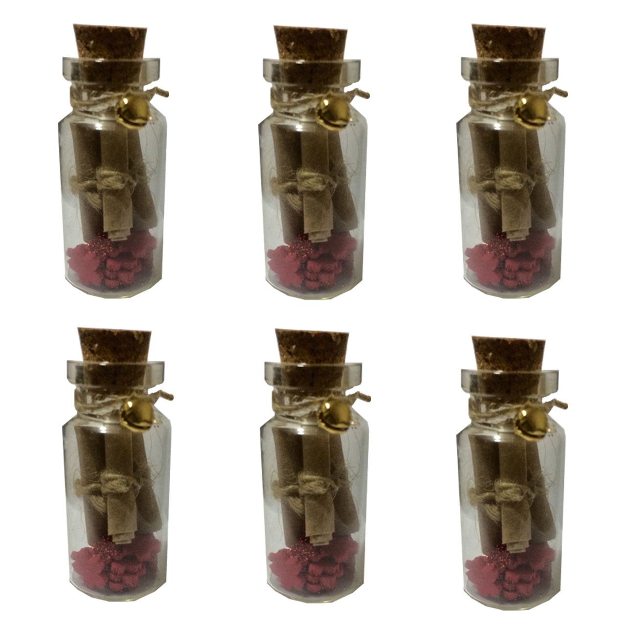 عکس بطری تزیینی طرح نامه های عاشقانه بسته 6 تایی سایز 120
