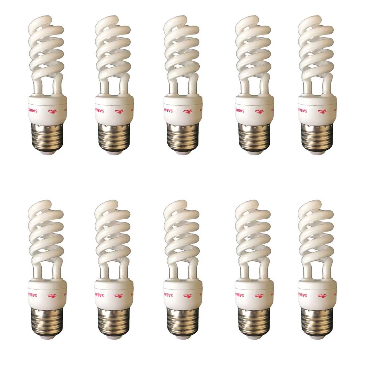لامپ کم مصرف 12 وات صبانور مدل نیم پیچ پایه E27 بسته 10 عددی