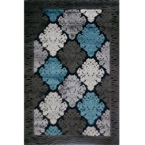 فرش ماشینی دنیز طرح شنل کد 3086 زمینه مشکی