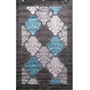 فرش ماشینی دنیز طرح شنل کد 3086 زمینه نقرهای