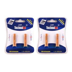 باتری نیم قلمی قابل شارژ تکنوتل مدل 65 بسته 4 عددی