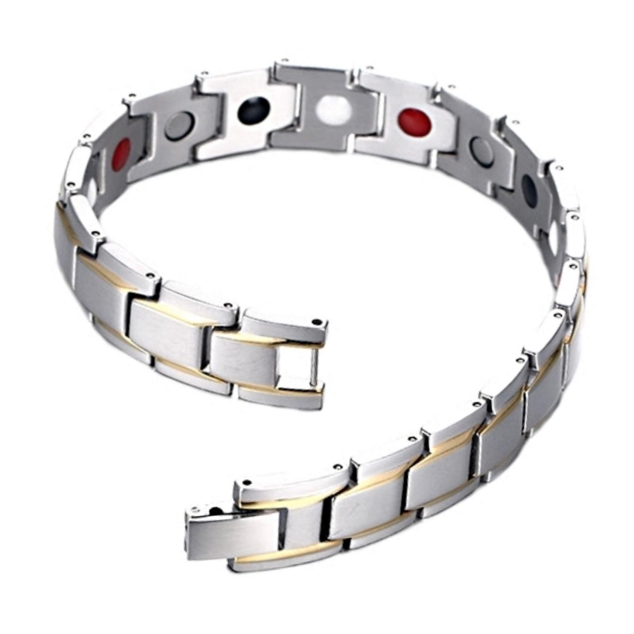 قیمت دستبند سلامت اسپرت گالری مگنت کد 271 نقره ای طلایی