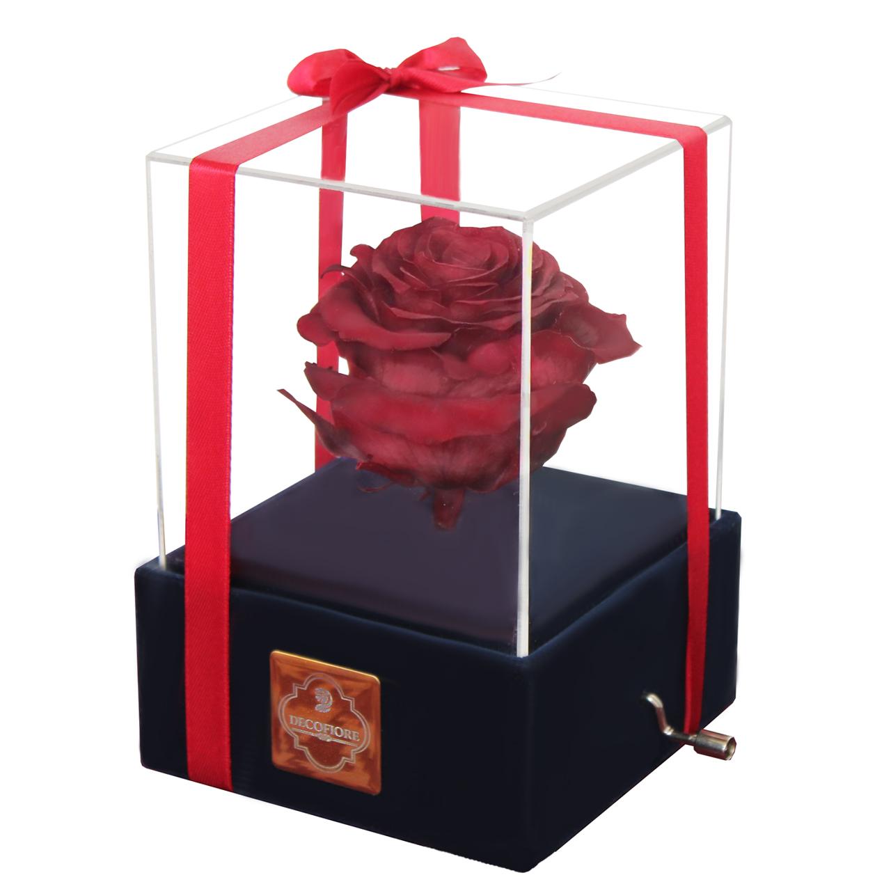 جعبه موزیکال گل ماندگار دکوفیوره مدل رز جاودان ملودی Happy birthday - به همراه پاکت مخصوص