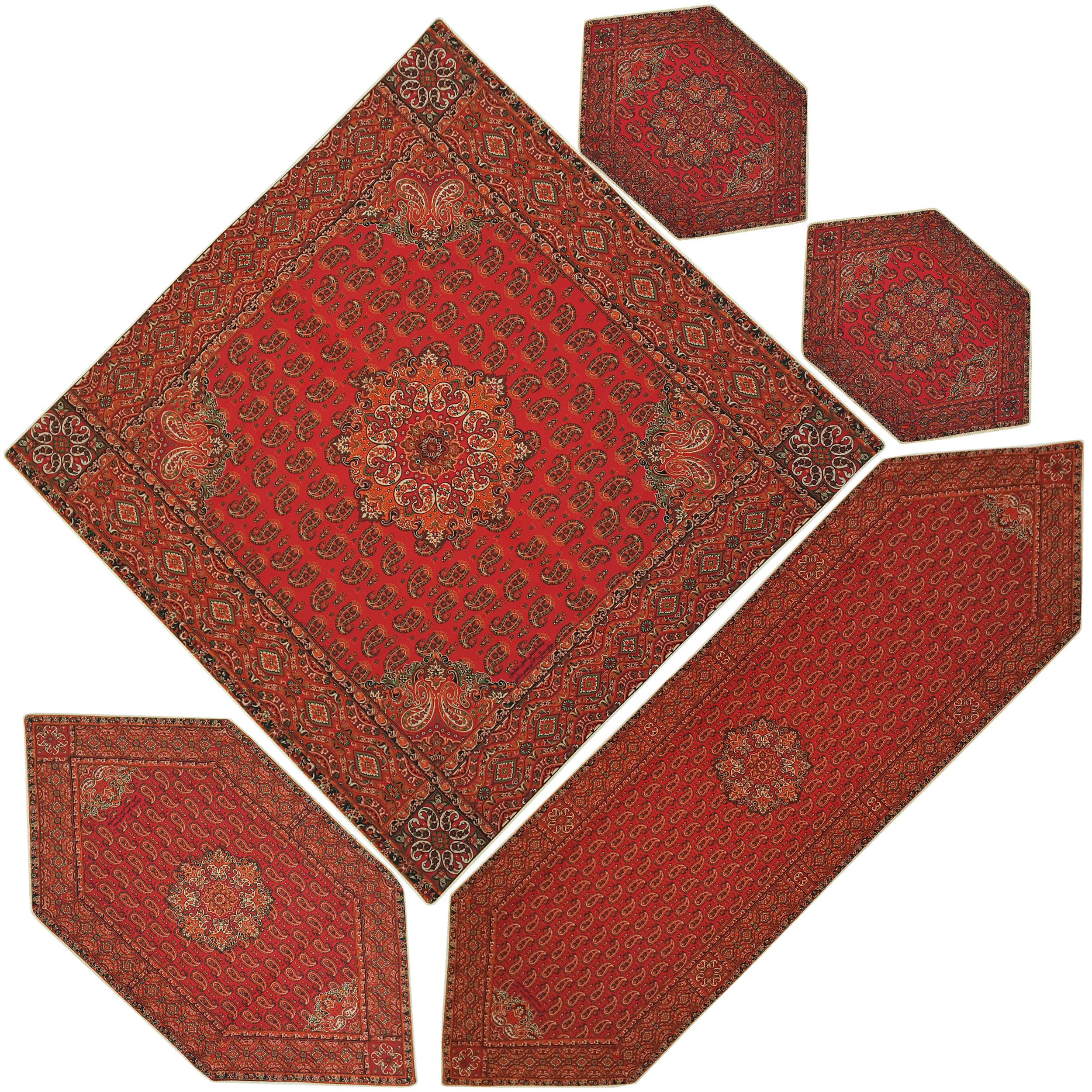 ست 5 تکه رومیزی ترمه ابریشمی یزد طرح قاجار