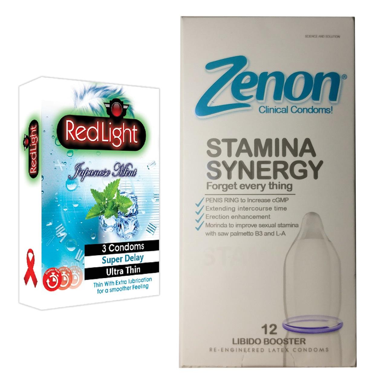 عکس کاندوم زنون مدل Stamina Synergy بسته 12 عددی به همراه یک بسته کاندوم سوپر تاخیری ردلایت مدل Japanese Mint بسته 3 عددی