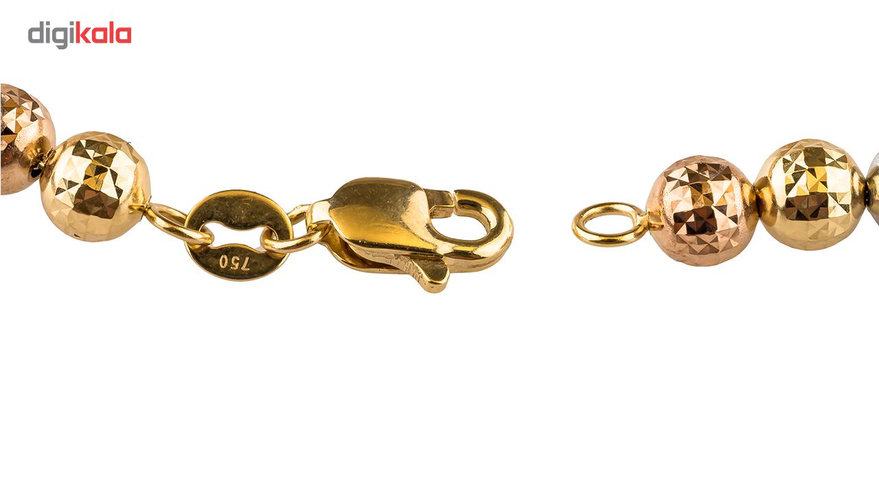 دستبند گویی طلا 18 عیار  گالری طلا باران مدل گوی سه رنگ