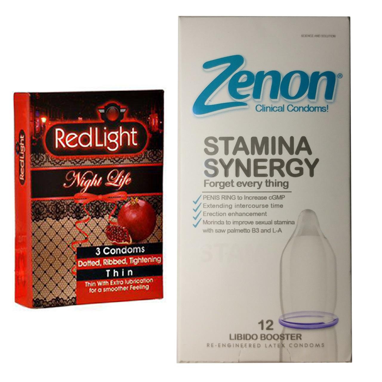 خرید                      کاندوم زنون مدل Stamina Synergy بسته 12 عددی به همراه کاندوم ردلایت مدل Night Life بسته 3 عددی
