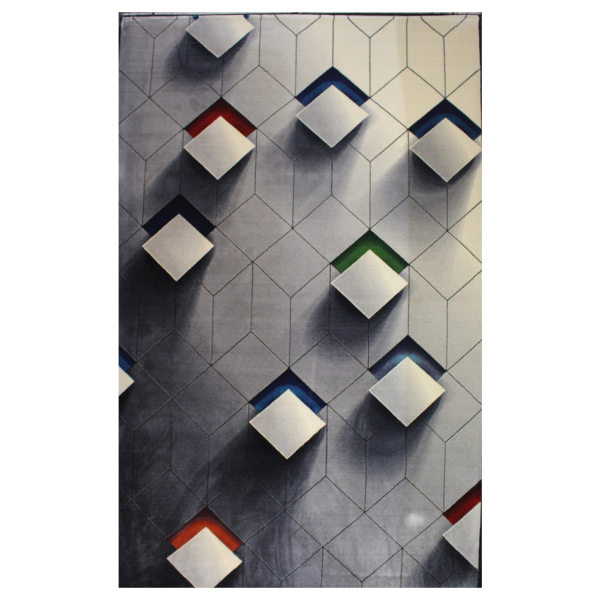 فرش ماشینی هیوا طرح روبیک سه بعدی