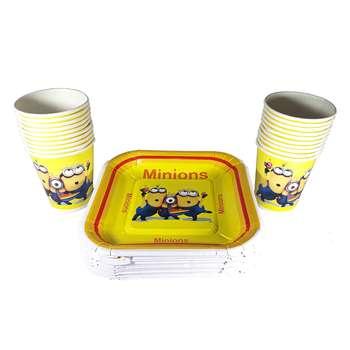 پیش دستی و لیوان یکبار مصرف طرح مینیون ها مجموعه 20 عددی
