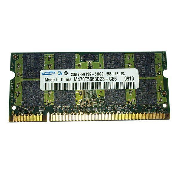 رم لپ تاپ سامسونگ مدل DDR2 PC2 5300S  ظرفیت 2 گیگابایت |
