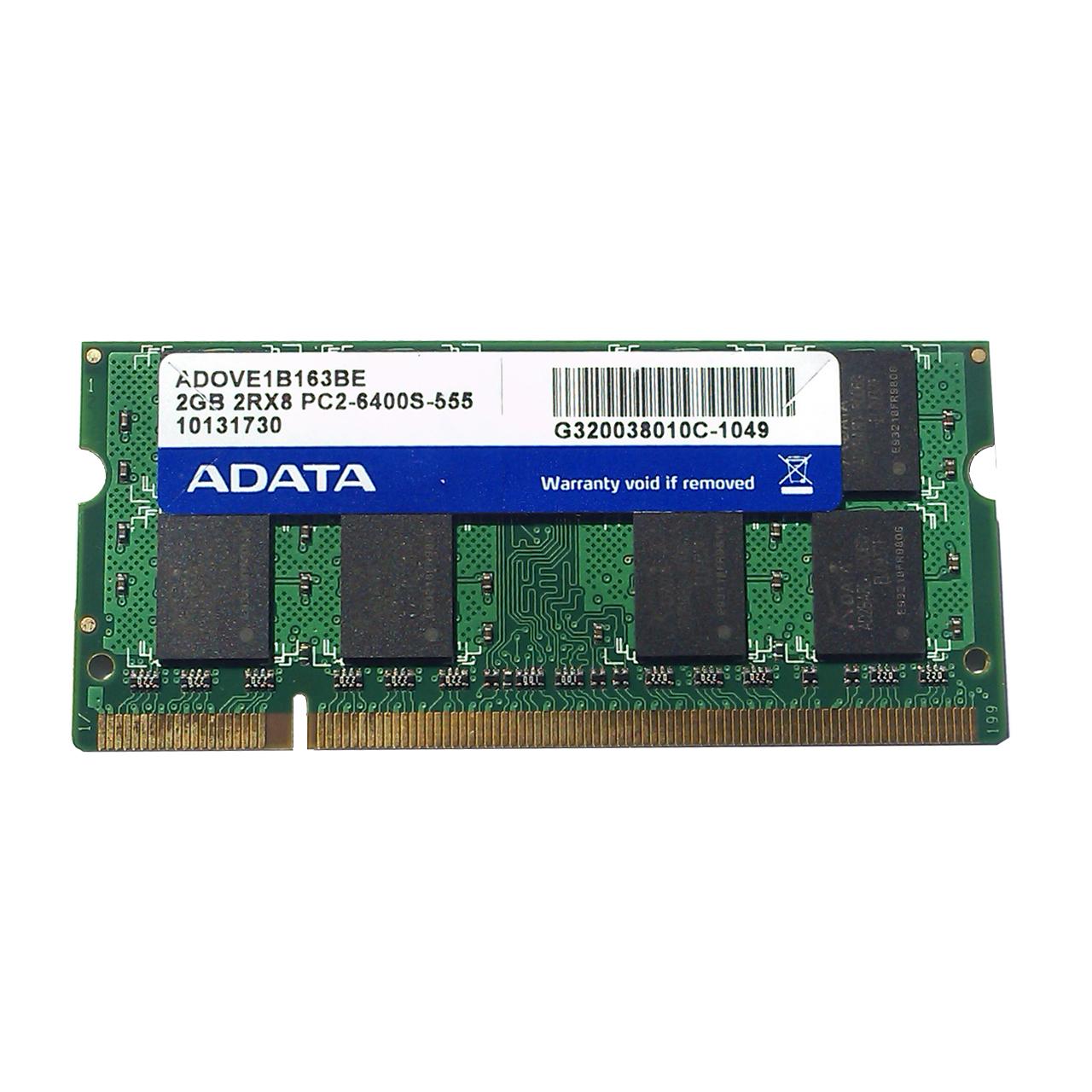 رم لپ تاپ ای دیتا مدل DDR2 PC2 6400S ظرفیت 2 گیگابایت