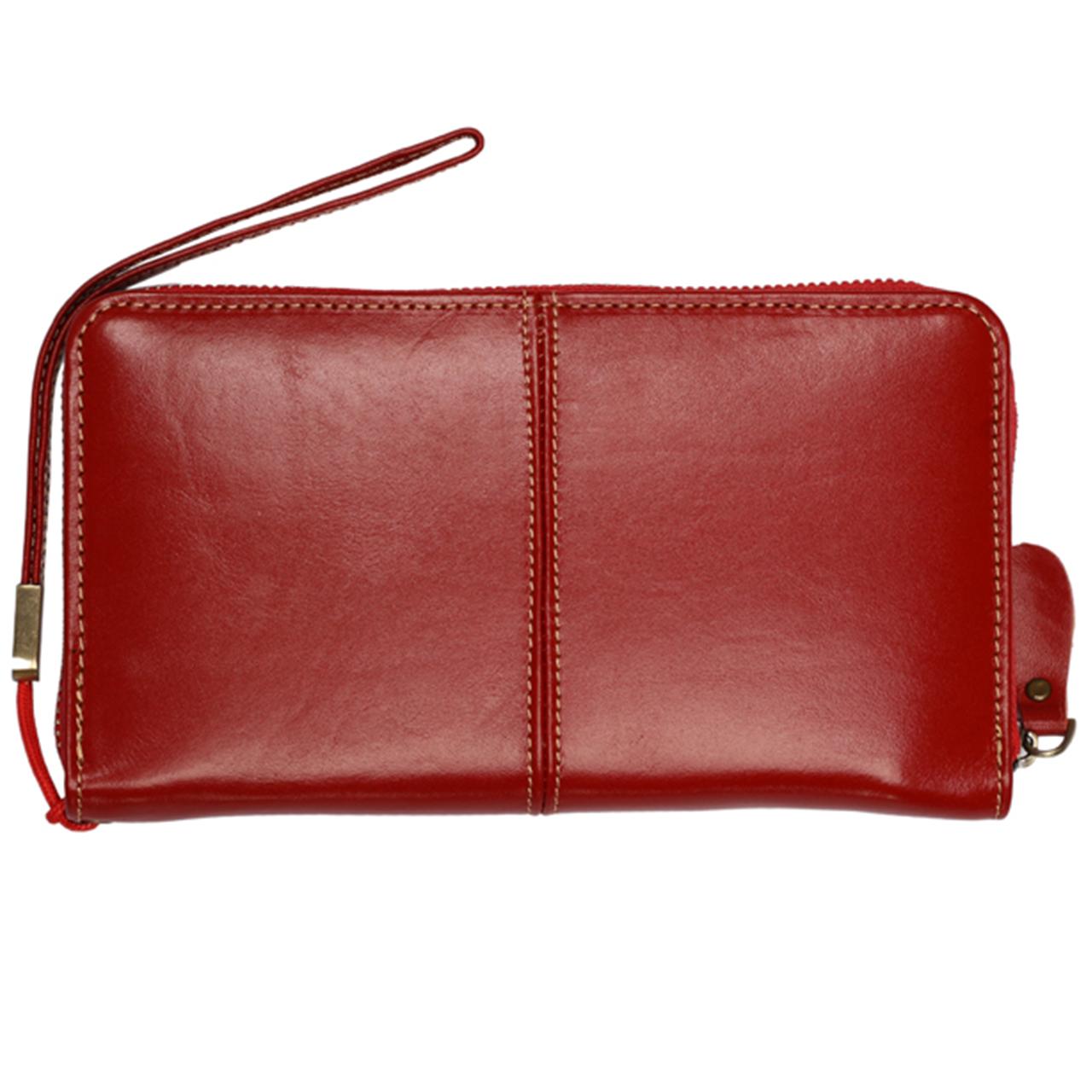 قیمت کیف پول زنانه رویال چرم مدل دور زیپ کدW27-Red