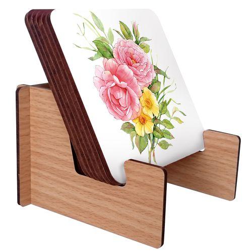 زیرلیوانی ژیوار طرح flower painting بسته 6 عددی