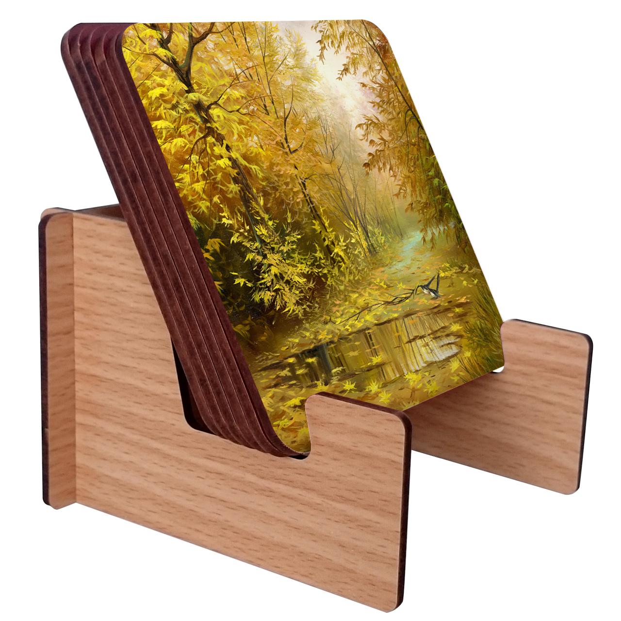 عکس زیرلیوانی ژیوار طرح nature painting بسته 6 عددی