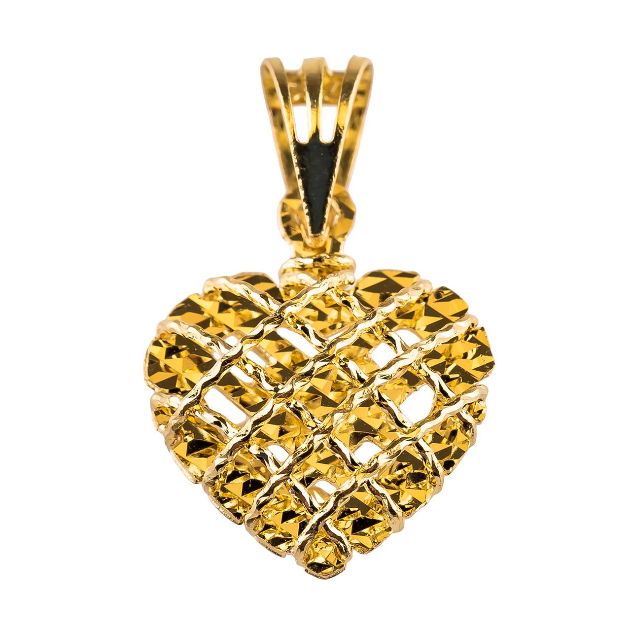 آویز گردنبند طلا 18 عیار گالری طلا باران مدل پلاک قلب 007
