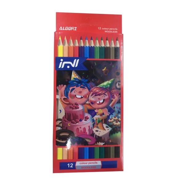 مداد رنگی 12 رنگ البرز مدل Woodless کد G12
