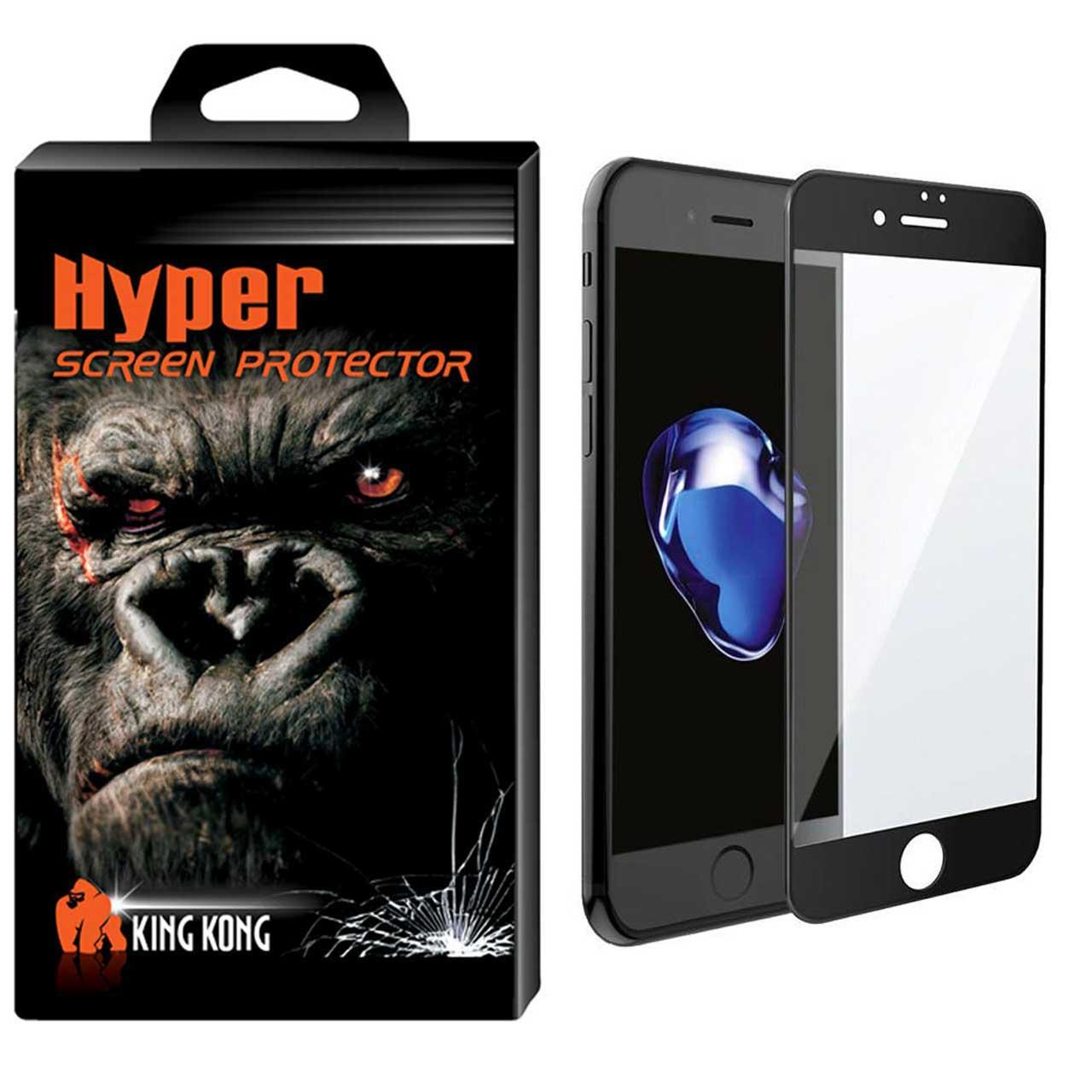 محافظ صفحه نمایش شیشه ای کینگ کونگ مدل 6D Hyper Fullcover مناسب برای گوشی اپل آیفون 6/6S