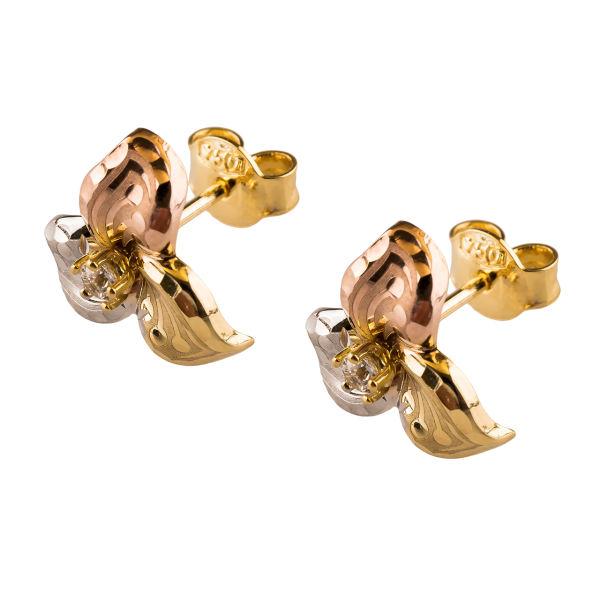گوشواره طلا 18عیار گالری طلاچی مدل گل 3 پر |