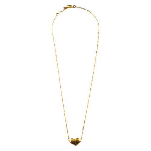 گردنبند طلا 18 عیار گالری طلا باران مدل قلب طلایی