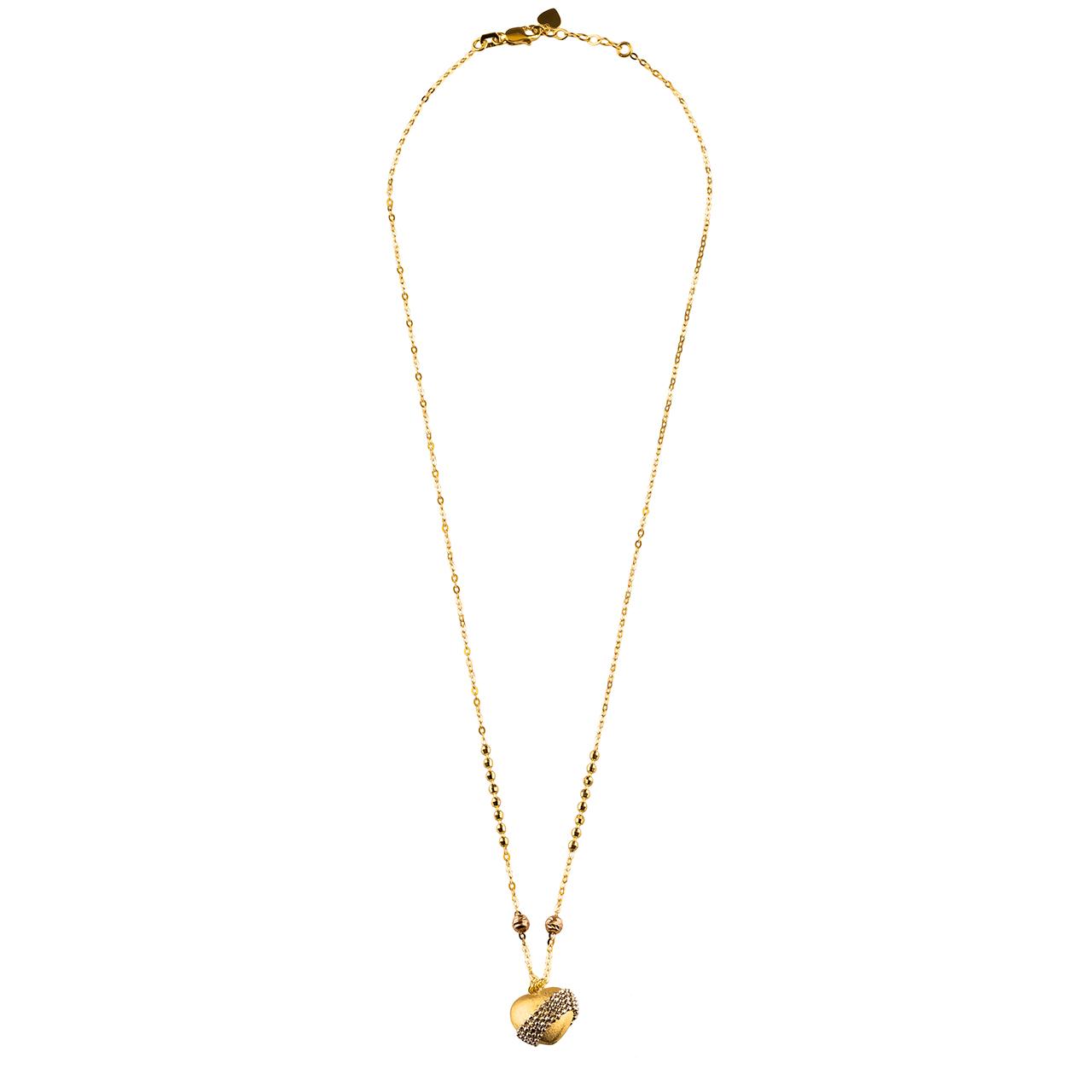 گردنبند طلا 18 عیار گالری طلا باران مدل قلب 2 رنگ