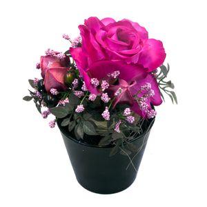 گلدان و گل مصنوعی وینیکا طرح رز انگلیسی مدل WKA0043-PI