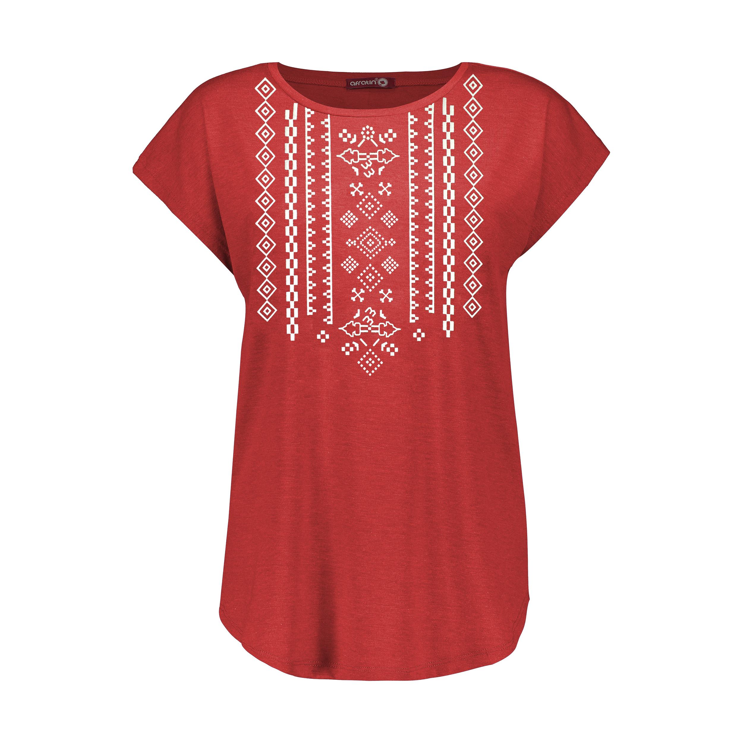 تی شرت زنانه افراتین کد 2551 رنگ قرمز