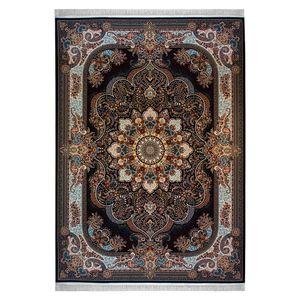 فرش ماشینی نیاوران طرح نسترن زمینه مشکی