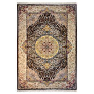 فرش ماشینی پاتریس طرح نقره زمینه بادمجانی