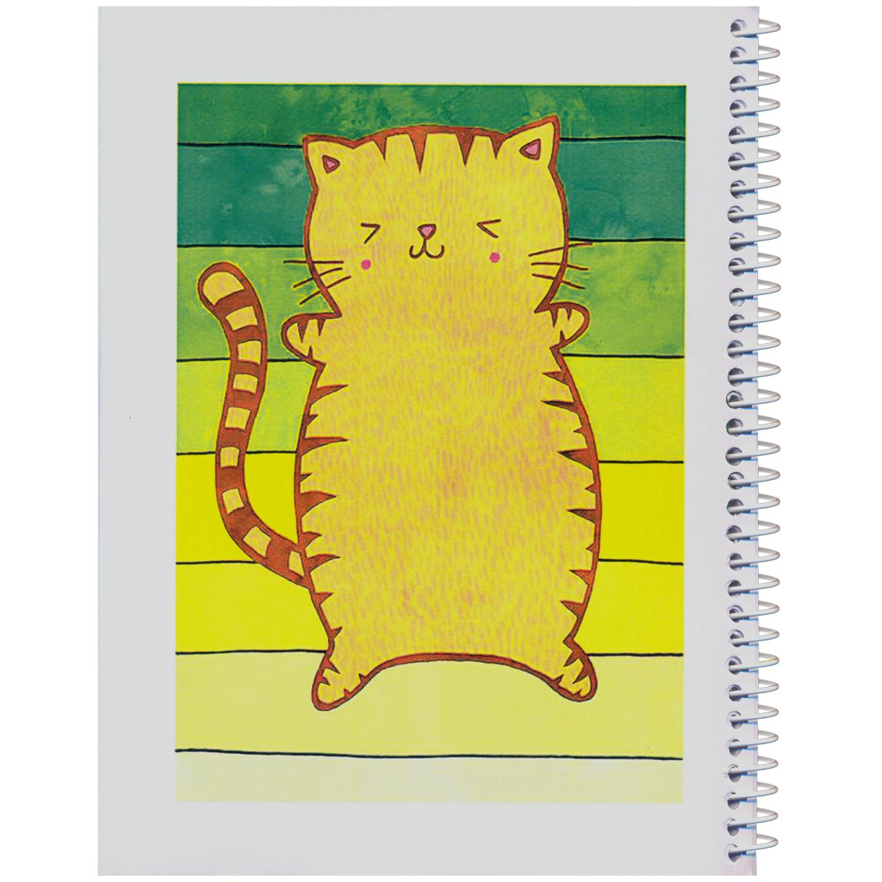 دفتر مشق مدل کژوال طرح گربه ی ناقلا