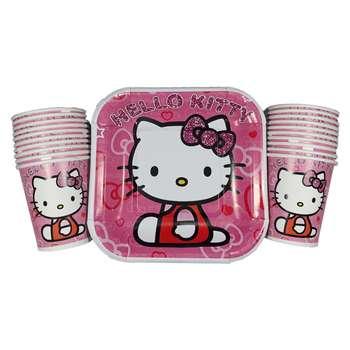 پیش دستی و لیوان یکبار مصرف مدل Hello Kitty مجموعه 20 عددی