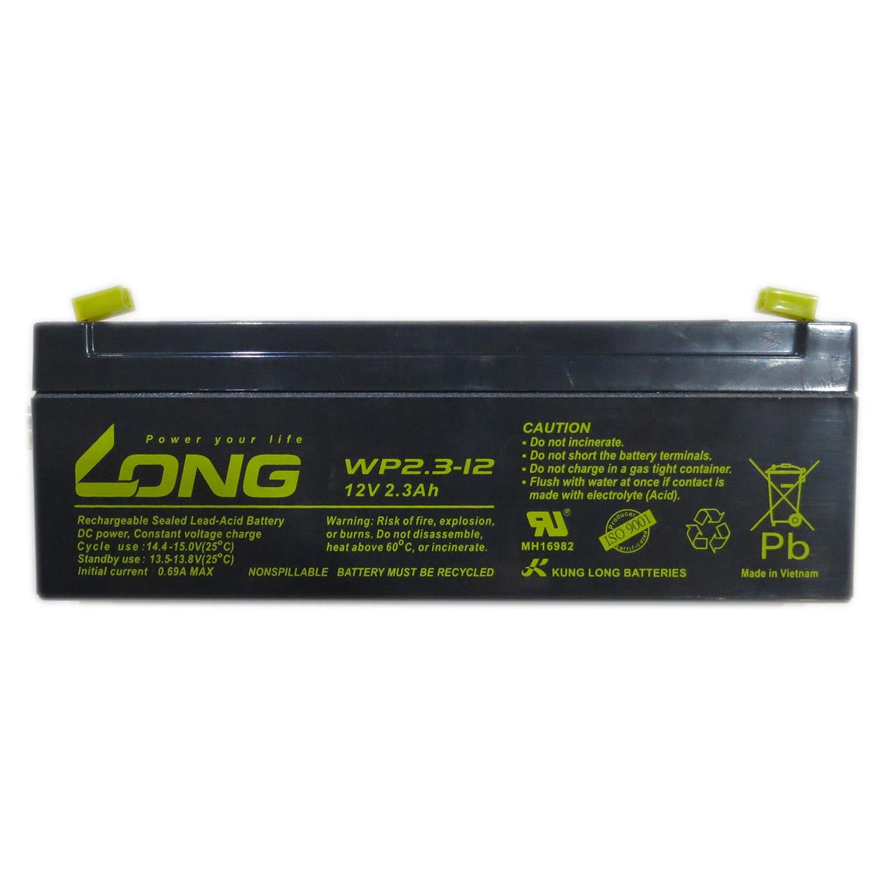 باتری خشک سربی یو پی اس 12 ولت 2.3 آمپر Long مدل WP2.3-12