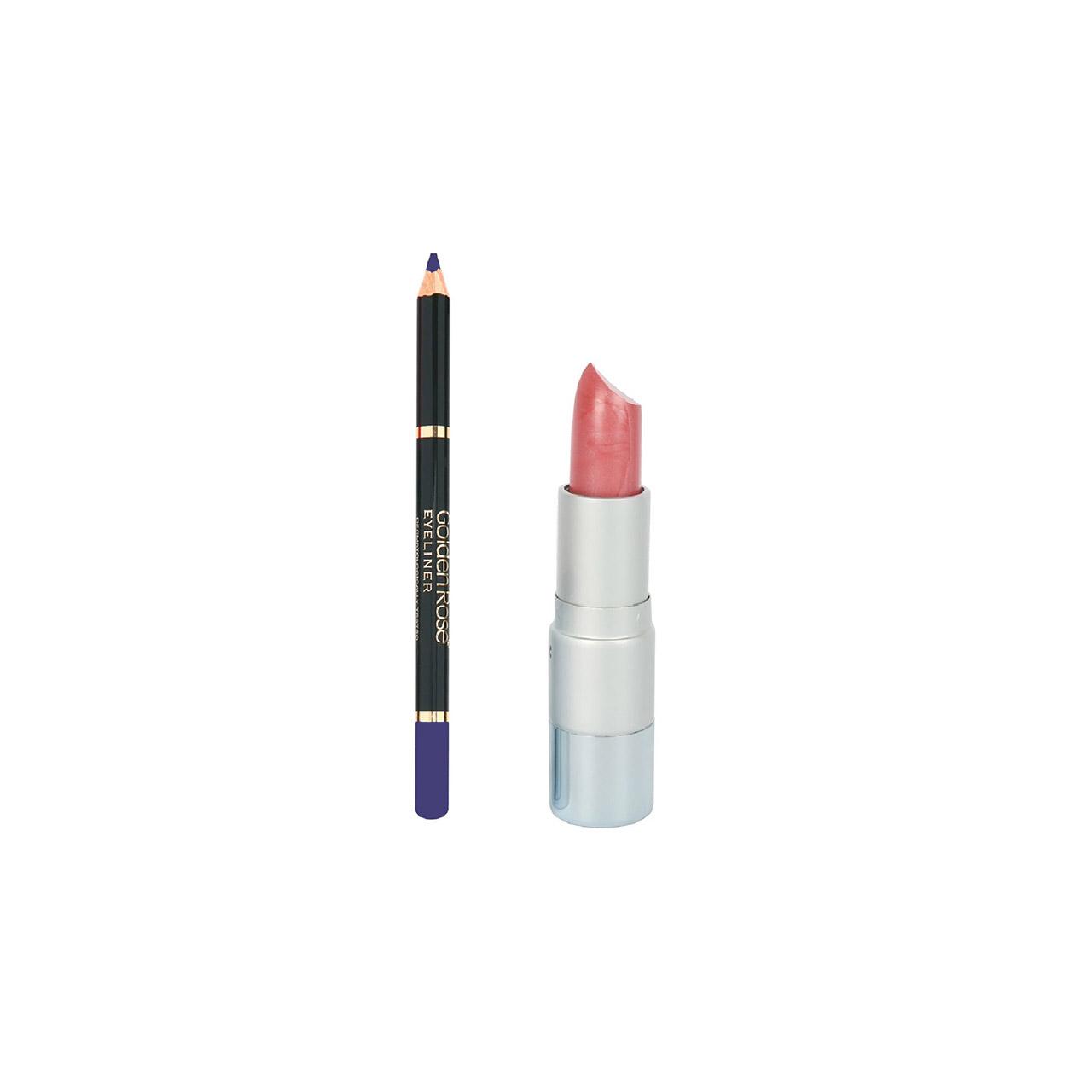 مدادچشم گلدن رز شماره 308 به همراه رژلب جامد لنسور سری 3D شماره 20
