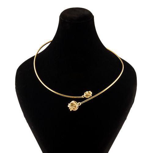 گردنبند طلا 18 عیار گالری طلا باران مدل حلقه گل