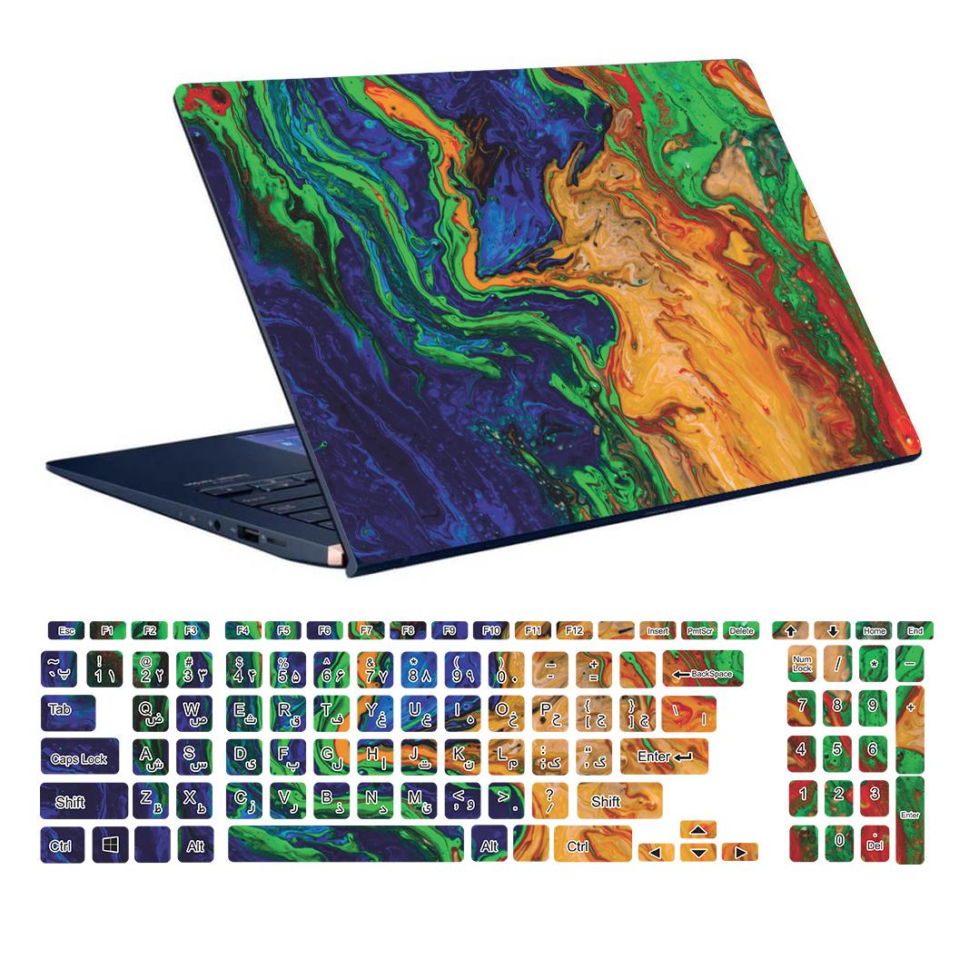 استیکر لپ تاپ توییجین و موییجین طرح Colorful کد 76 مناسب برای لپ تاپ 15.6 اینچ به همراه برچسب حروف فارسی کیبورد