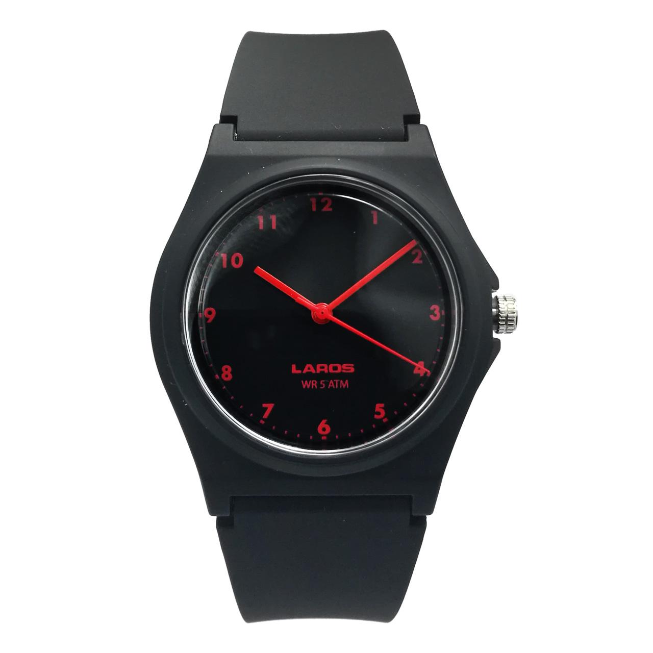 ساعت مچی عقربه ای لاروس مدل ۱۱۱۷-aq103 به همراه دستمال مخصوص برند کلین واچ