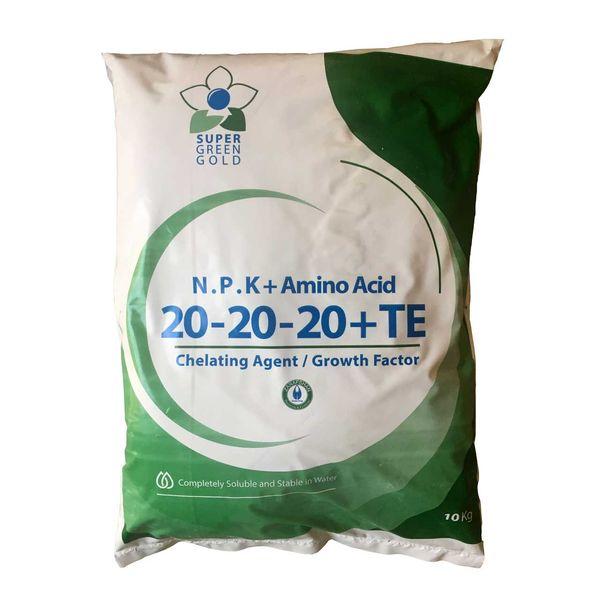 کود کامل پودری گرین گلد مدل NPK 20-20-20+TE بسته 10 کیلوگرمی  
