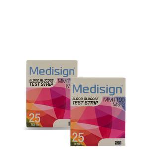 نوار تست قندخون مدیساین مدل MS-2 دو بسته 25 عددی