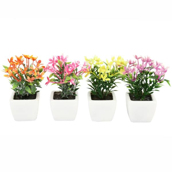 گلدان به همراه گل مصنوعی هومز طرح مینا پودری مدل 30507 مجموعه 4 عددی