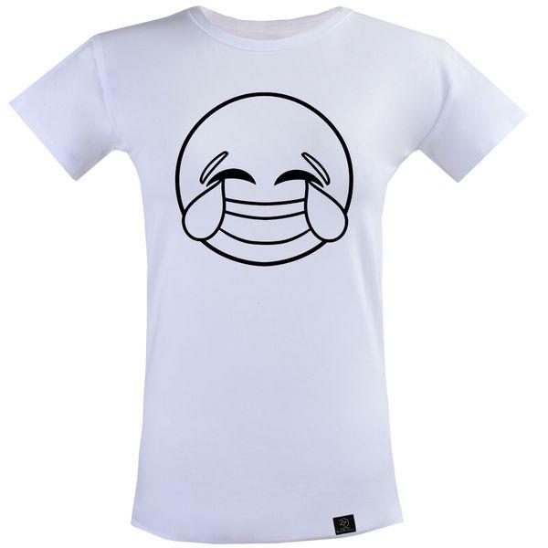 تی شرت آستین کوتاه زنانه 27 مدل خنده کد T25 رنگ سفید