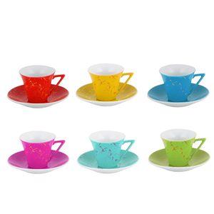 ست فنجان و نعلبکی 12 پارچه وینیکا مدل رنگین کمان 2