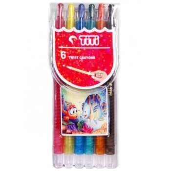 مداد شمعی 6 رنگ تی تی مدل کیدز