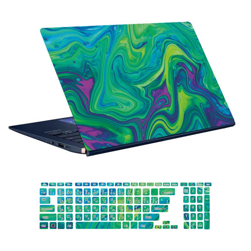 استیکر لپ تاپ توییجین و موییجین طرح Colorful کد 69 مناسب برای لپ تاپ 15.6 اینچ به همراه برچسب حروف فارسی کیبورد