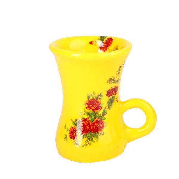 استکان سرامیکی زیما مدل کمر باریک گل سرخی